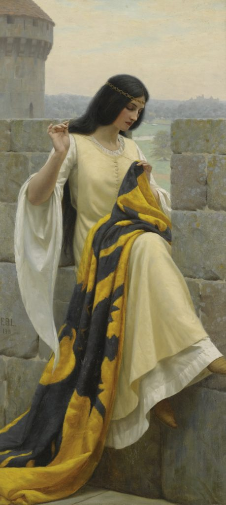Edmund Leighton, Stitching The Standard, 1911