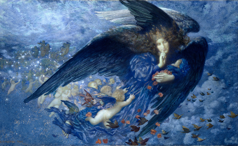 Pre-Raphealite painting of Night With Her Train of Stars by Edward Robert Hughes, 1912
