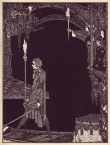 Illustration for Deep In Earth, from Harry Clark's illustrations from Poe's 1923 illustrations of Edgar Allan Poe's Tales of Mystery and Imagination
