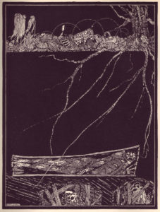 Featured Image for the Hearse Song, from Irish illustrator Harry Clark's Poe illustrations